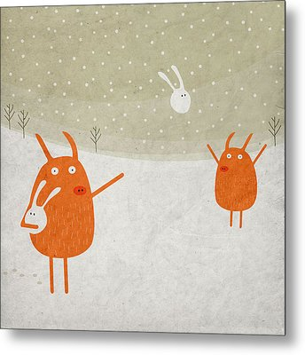 Pigs And Bunnies Metal Print by Fuzzorama