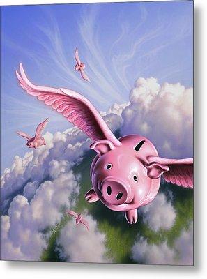 Pigs Away Metal Print