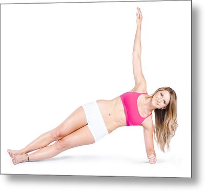 Pilates Instructor On White Background Metal Print