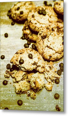 Pile Of Crumbled Chocolate Chip Cookies On Table Metal Print by Jorgo Photography - Wall Art Gallery