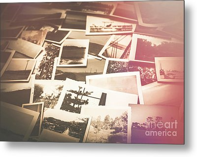 Pile Of Old Scattered Photos Metal Print