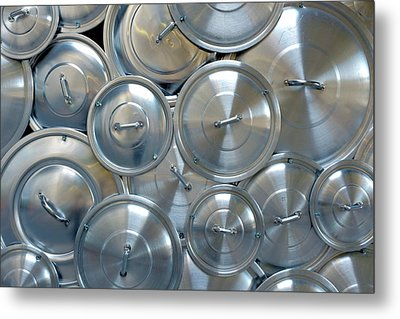 Pile Of Pan Caps Metal Print by Carlos Caetano