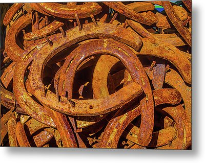 Pile Of Rusty Horseshoes Metal Print