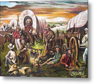 Metal Print featuring the painting Pilgrims On The Plain by Sigrid Tune