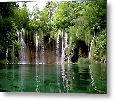 Piltvice Lake Falls Metal Print