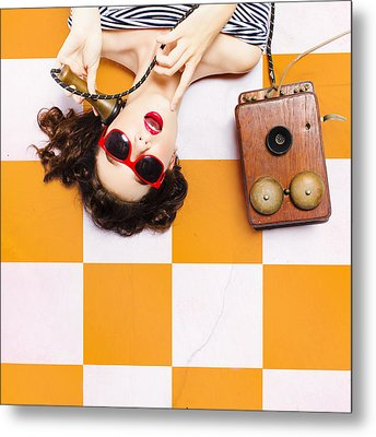 Metal Print featuring the photograph Pin-up Beauty Decision Making On Old Phone by Jorgo Photography - Wall Art Gallery
