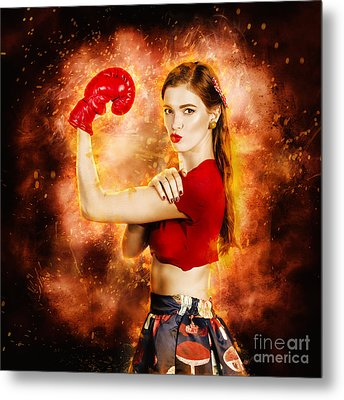 Pin Up Boxing Girl  Metal Print by Jorgo Photography - Wall Art Gallery