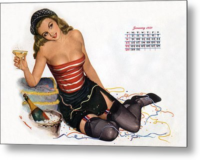 Pin Up Celebrating New Year With Champagne Metal Print