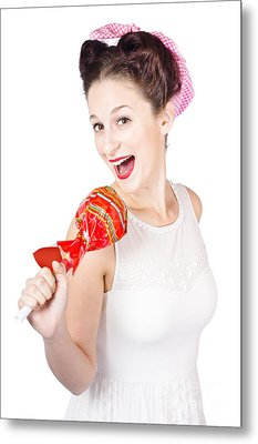 Pin-up Girl Singing Into Large Lollypop Microphone Metal Print