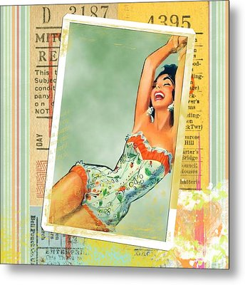 Pin Up Girl Square Metal Print by Edward Fielding