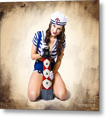 Pin Up Girl With Curly Hair And Stylish Make-up Metal Print by Jorgo Photography - Wall Art Gallery