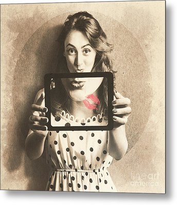 Pin Up Girl With Technology Love Metal Print by Jorgo Photography - Wall Art Gallery