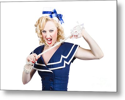 Pin Up Navy Girl Breaking Naval Rope With Strength Metal Print