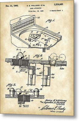 Pinball Machine Patent 1939 - Vintage Metal Print by Stephen Younts