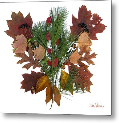 Pine And Leaf Bouquet Metal Print by Lise Winne