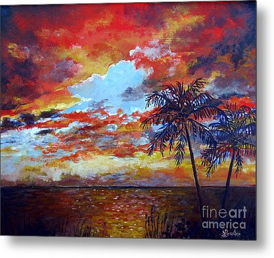 Metal Print featuring the painting Pine Island Sunset by Lou Ann Bagnall