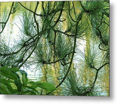 Pine Needles Patchwork Metal Print