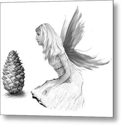 Pine Tree Fairy With Pine Cone B And W Metal Print