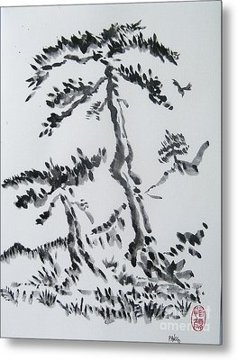 Pine Trees On Tokaido Road Metal Print by Roberto Prusso