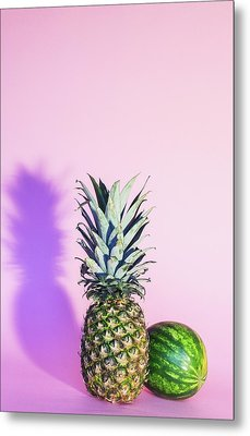 Pineapple And Watermelon Metal Print by Happy Home Artistry