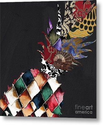 Pineapple Brocade Metal Print