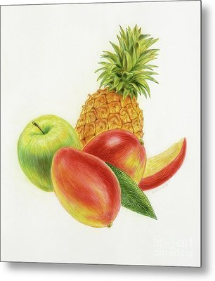 Pineapple, Mango And Apple Metal Print by Michael Seleznev