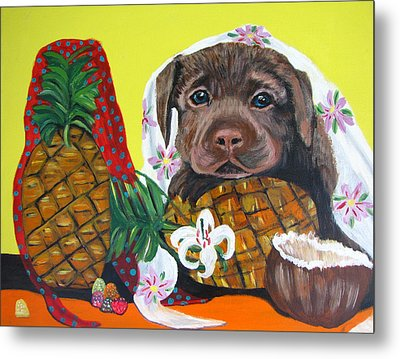 Pineapple Puppy Metal Print by Aleta Parks