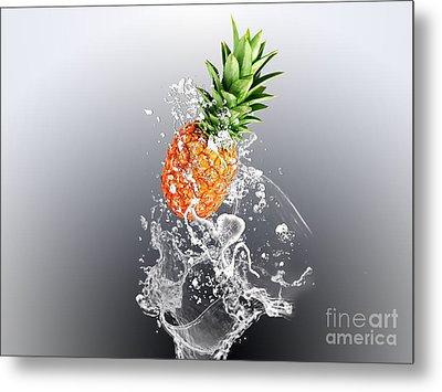 Pineapple Splash Metal Print