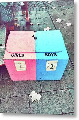Pink And Blue Crate Metal Print by Tom Gowanlock