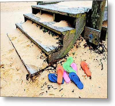 Pink And Blue Flip Flops By The Steps Metal Print