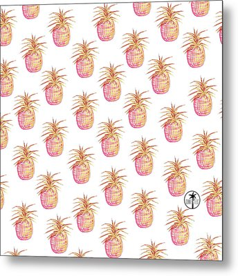 Pink And Gold Pineapple Pattern Design From The Sunnie Tees Collection Metal Print by Megan Duncanson