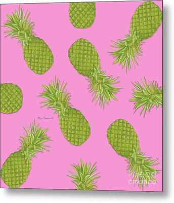 Pink And Green Pineapple Pattern Design By Megan Duncanson Metal Print by Megan Duncanson