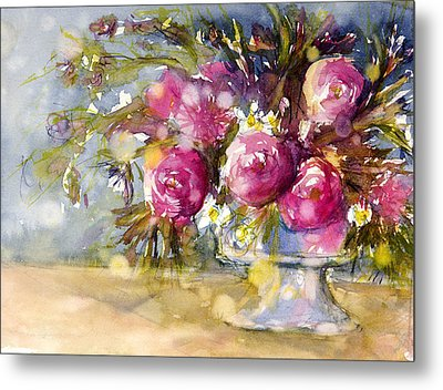 Pink And Navy Metal Print by Judith Levins
