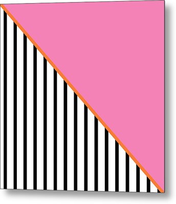 Pink And Orange And Black Geometric Metal Print by Linda Woods