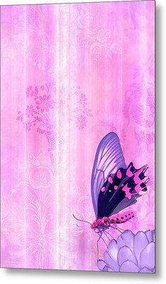 Pink And Purple Butterfly Companions 2 Metal Print