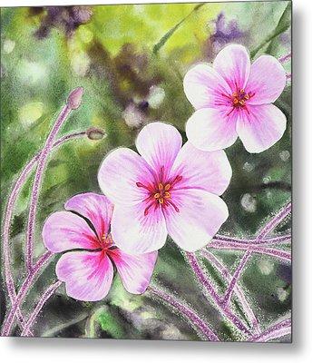 Pink And Purple Flowers Metal Print by Irina Sztukowski