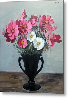 Pink And White Cosmos In Black Glass Vase Metal Print
