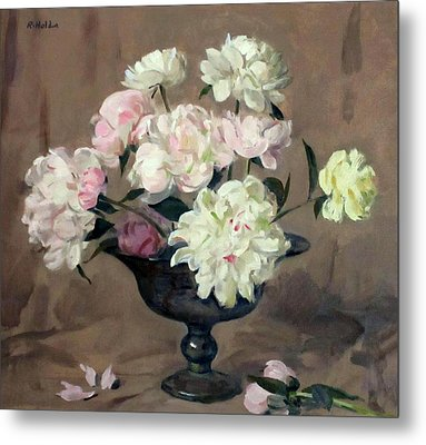 Pink And White Peonies In Footed Silver Bowl Metal Print