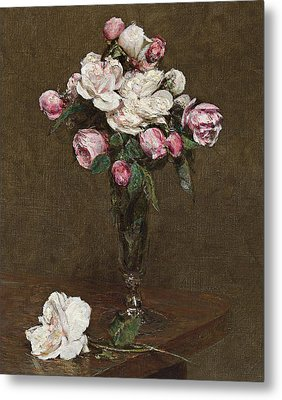 Pink And White Roses In A Champagne Flute Metal Print