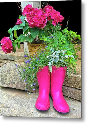 Pink Boots Metal Print by Susan Leggett