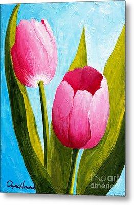 Pink Bubblegum Tulip II Metal Print by Phyllis Howard