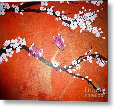Pink Butterflies And Cherry Blossom Metal Print