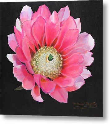 Metal Print featuring the painting Pink Cactus Flower by M Diane Bonaparte