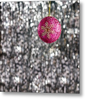 Metal Print featuring the photograph Pink Christmas Bauble by Ulrich Schade