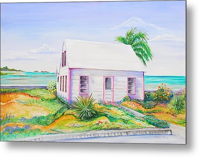 Metal Print featuring the painting Pink Cottage by Patricia Piffath