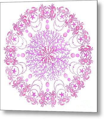 Pink Crab Mandala Metal Print by Stephanie Troxell