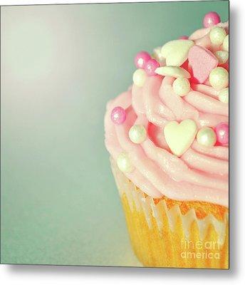 Pink Cupcake With Lovehearts Metal Print