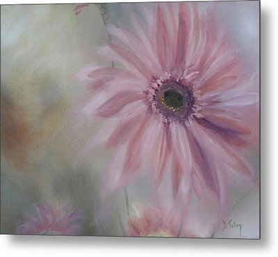 Metal Print featuring the painting Pink Daisies by Donna Tuten