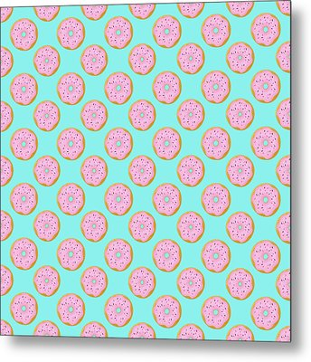 Pink Donuts Metal Print by Little Bunny Sunshine