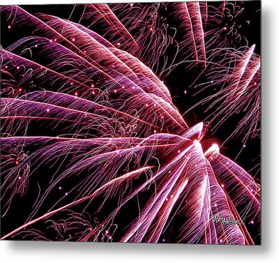 Metal Print featuring the photograph Pink Flamingo Fireworks #0710 by Barbara Tristan